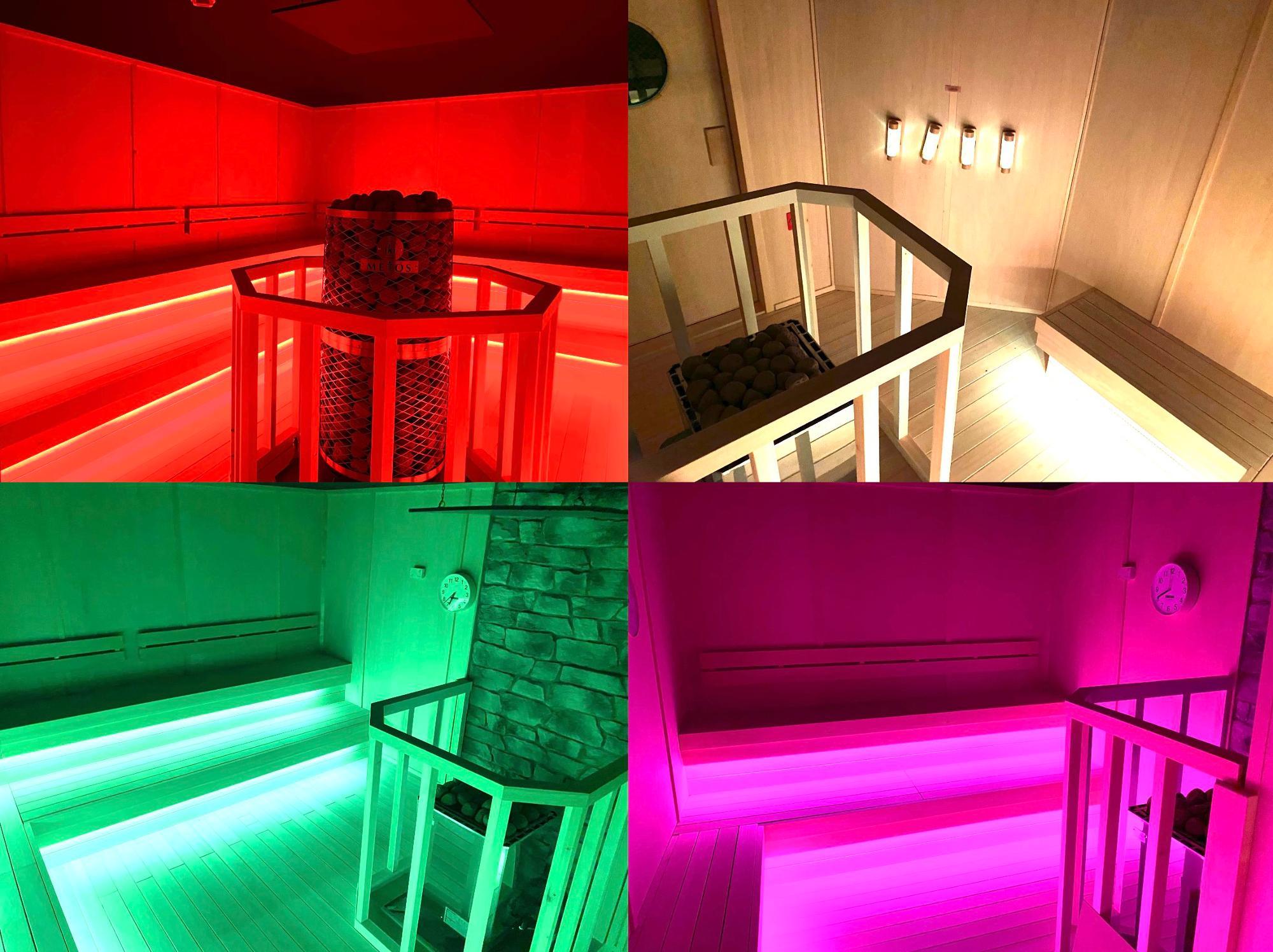 サウナは全部で7室。室温は70〜100度と部屋ごとに設定されている