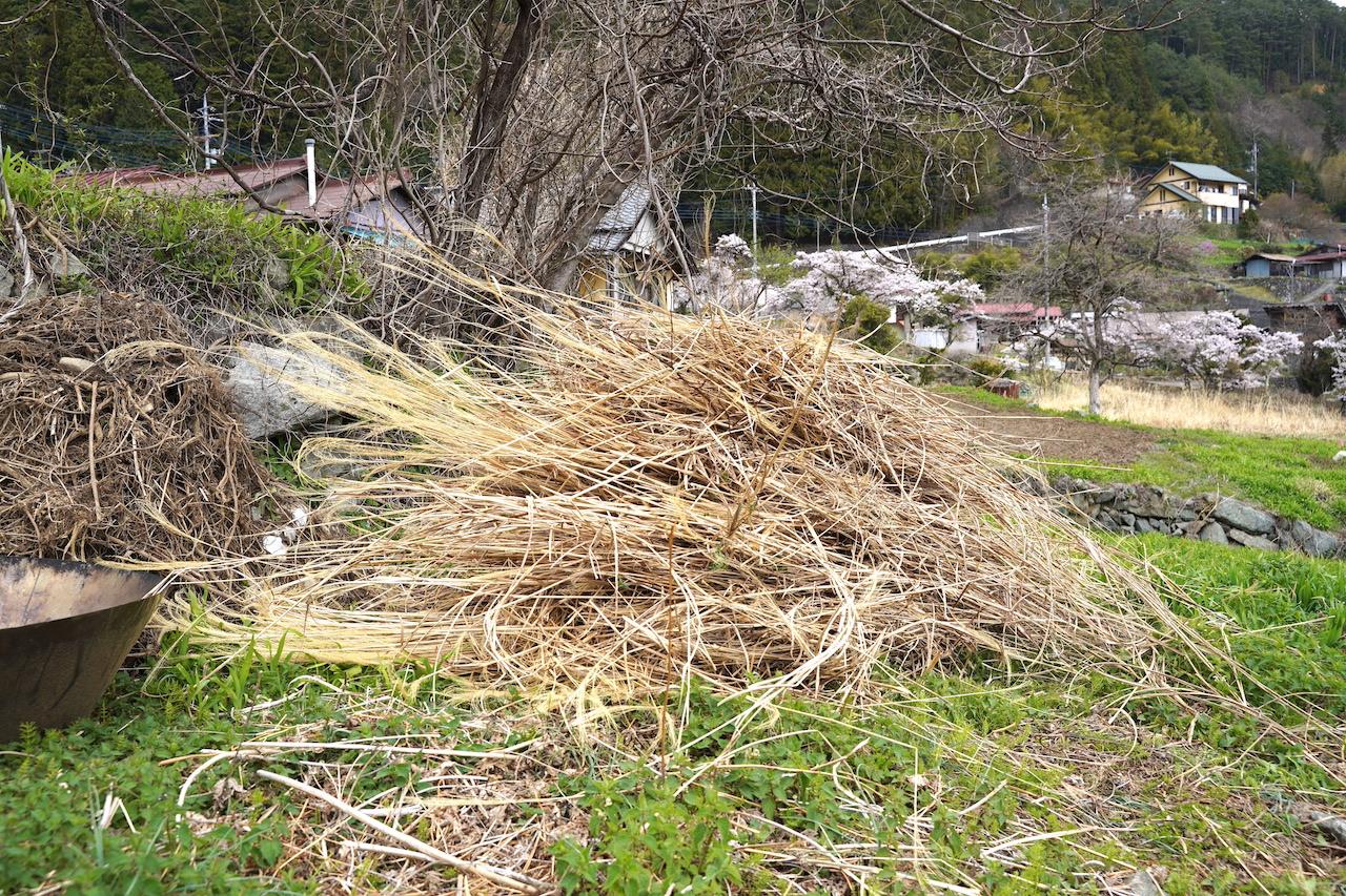 草刈り機で刈った草をトラックで畑に運び、畝を作る