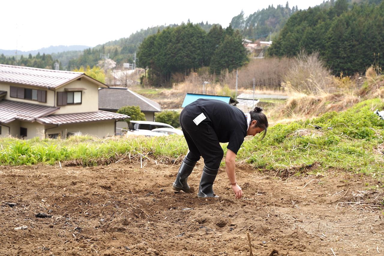 畑の中の石を拾う。地道な作業も黙々と取り組んでいた
