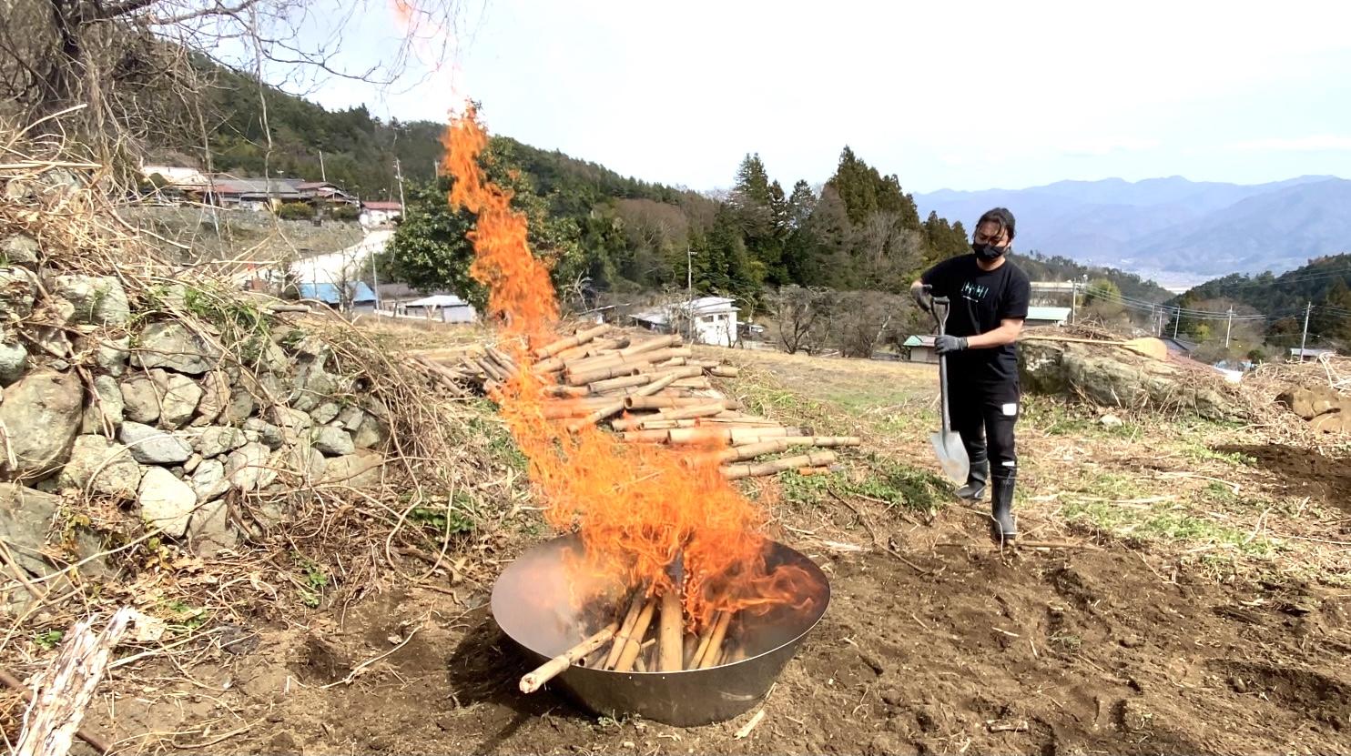 畑のある集落の竹林にて倒れていたり放置されている竹を集め、畑に撒くための竹炭を作っているところ