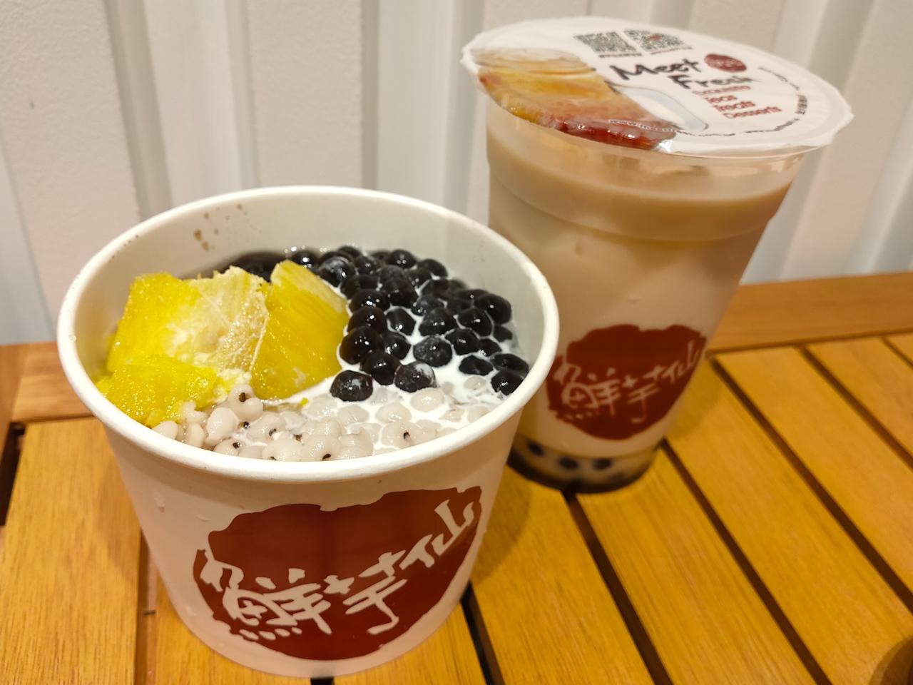 台湾のハーブ「仙草」で作ったゼリーに、はと麦・さつまいも・タピオカが入った「仙草2号」