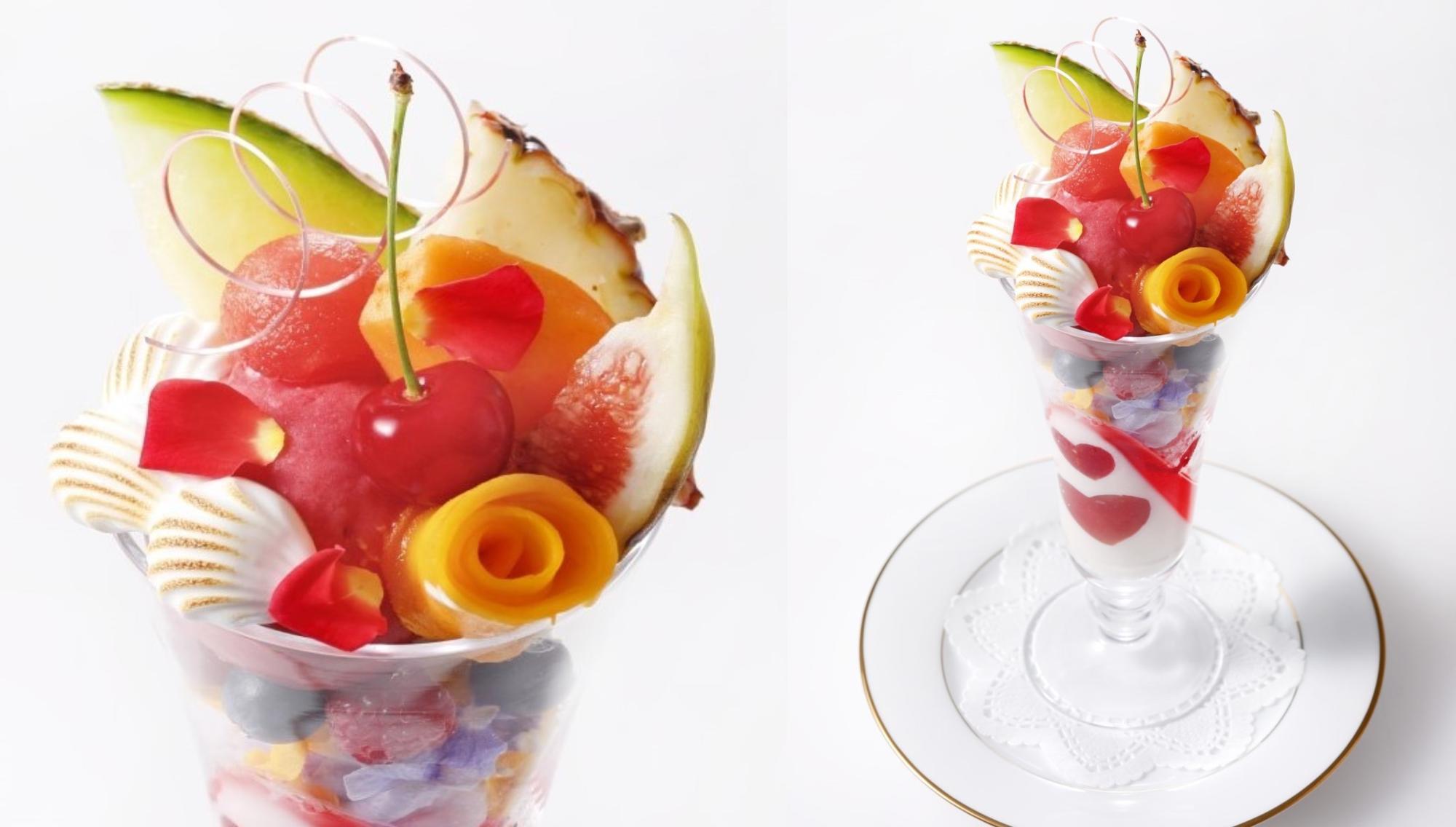 「3周年記念 国産フルーツのブーケパフェ」 1,980円( コーヒーまたは紅茶またはハーブティー付き)