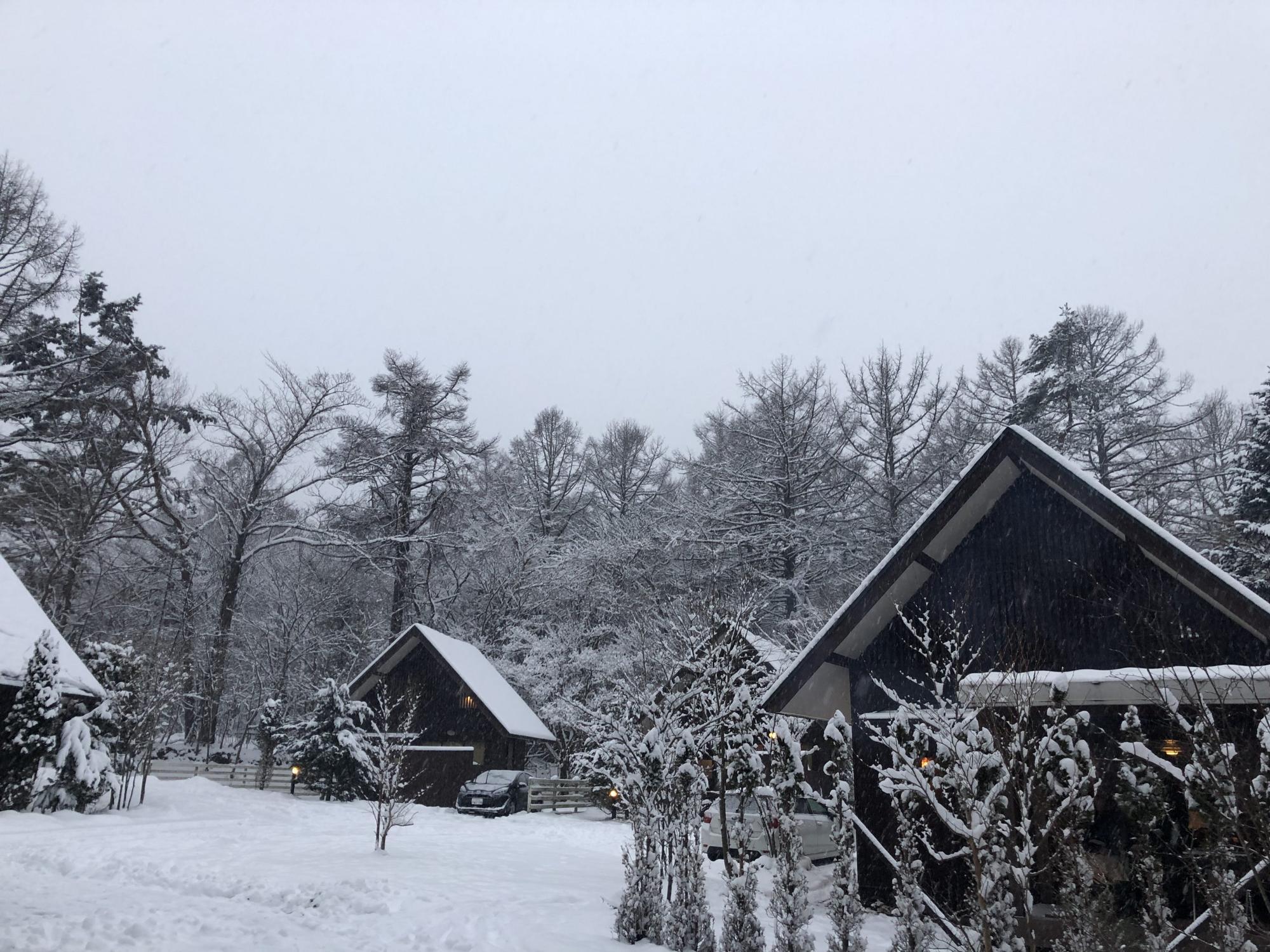 雪が積もったPICA山中湖のコテージ