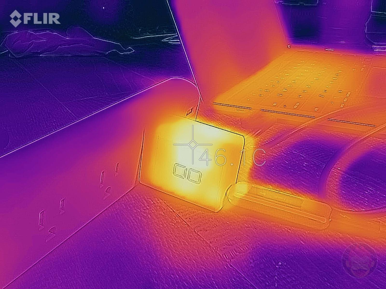 最大65Wで出力中の本体温度をサーモグラフィカメラで計測
