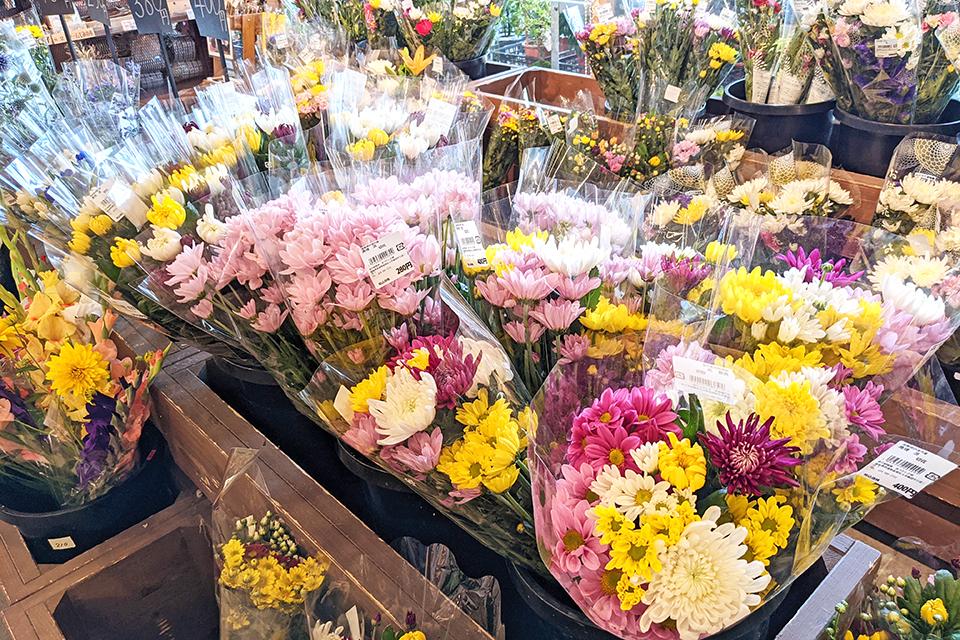 切り花は新鮮さが命。地元生産者が直接出荷するので、生きのよいお花が並びます。