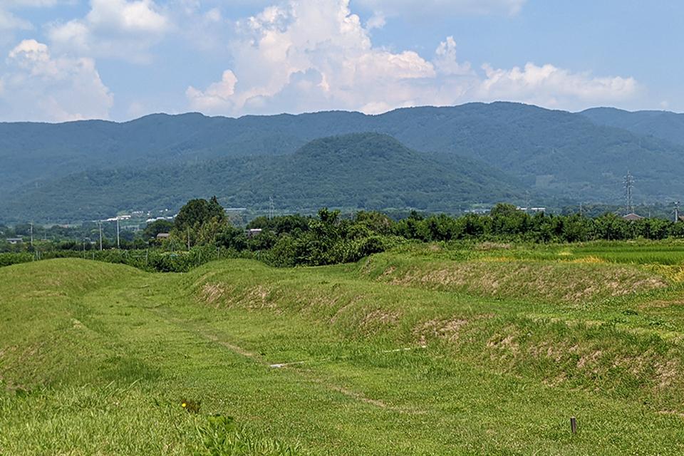 この写真の真ん中に見える山が阿津賀志山です。