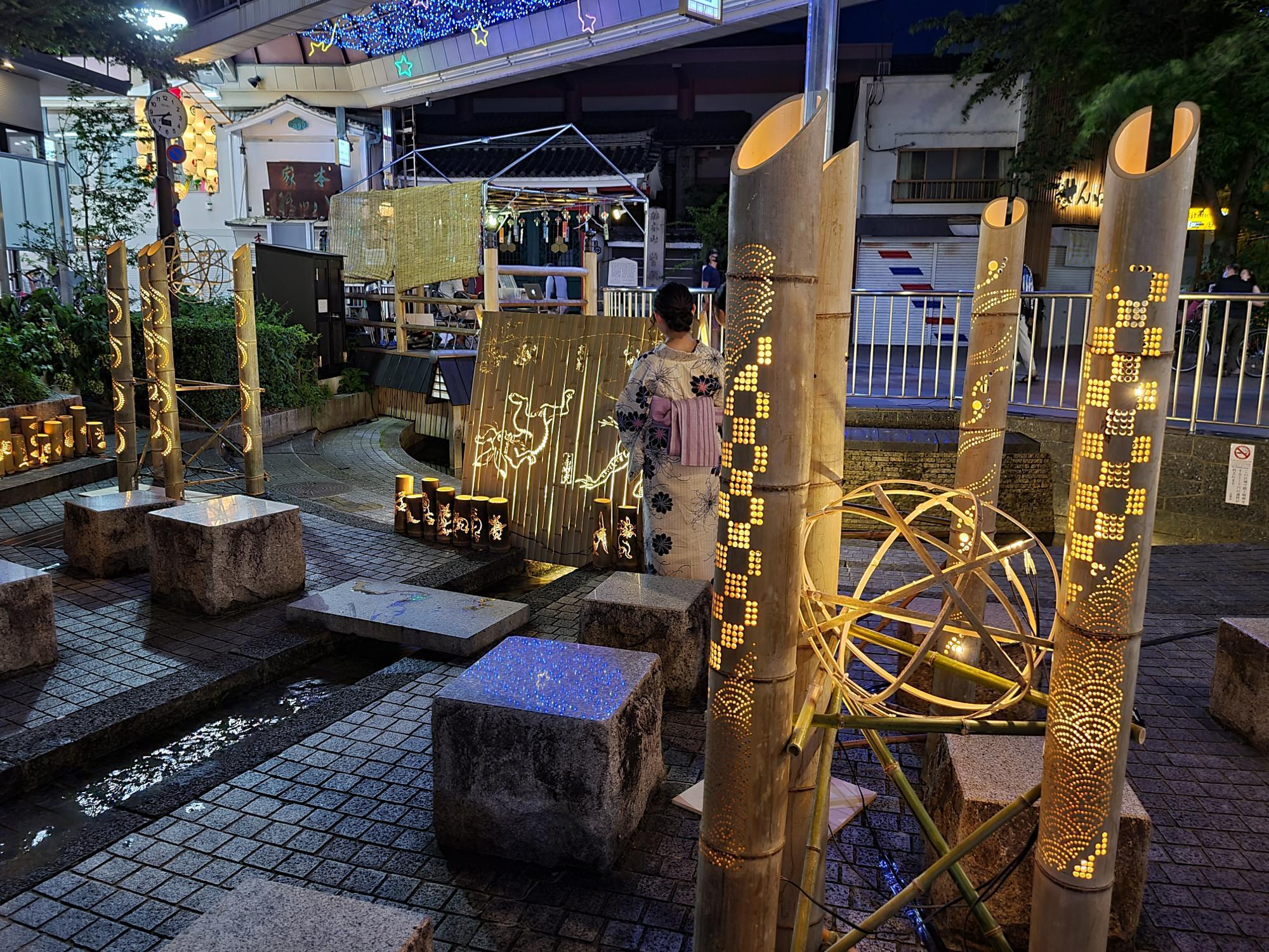 新京極で開催された竹あかり