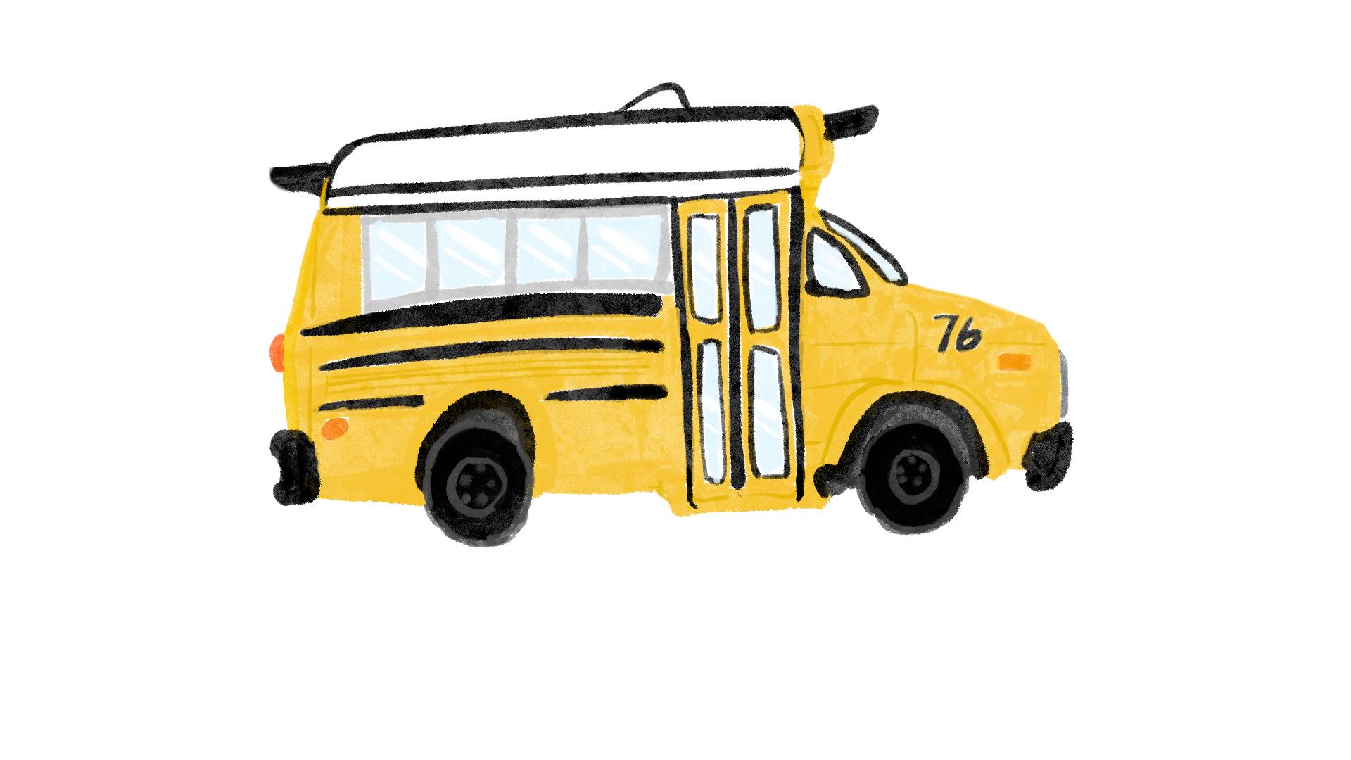 スクールバスのイラスト(川井浩二・絵)