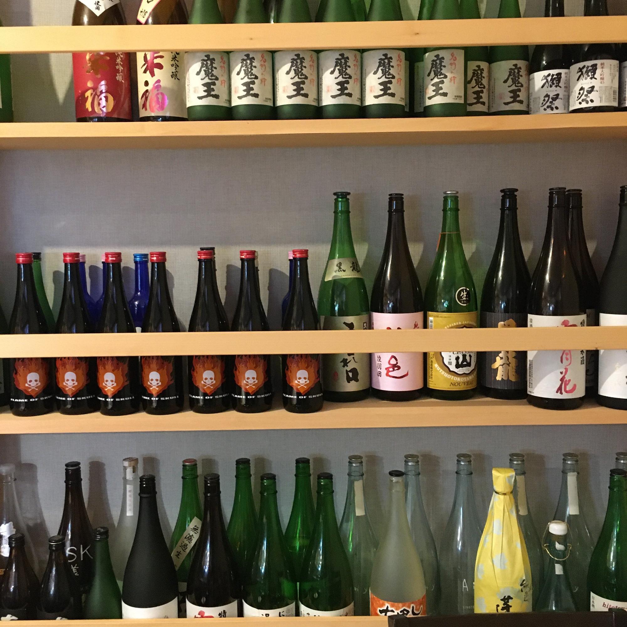 「海ごころ 離」の日本酒の一部。美味しいお酒と魚料理が好きなお年頃になってしまった!