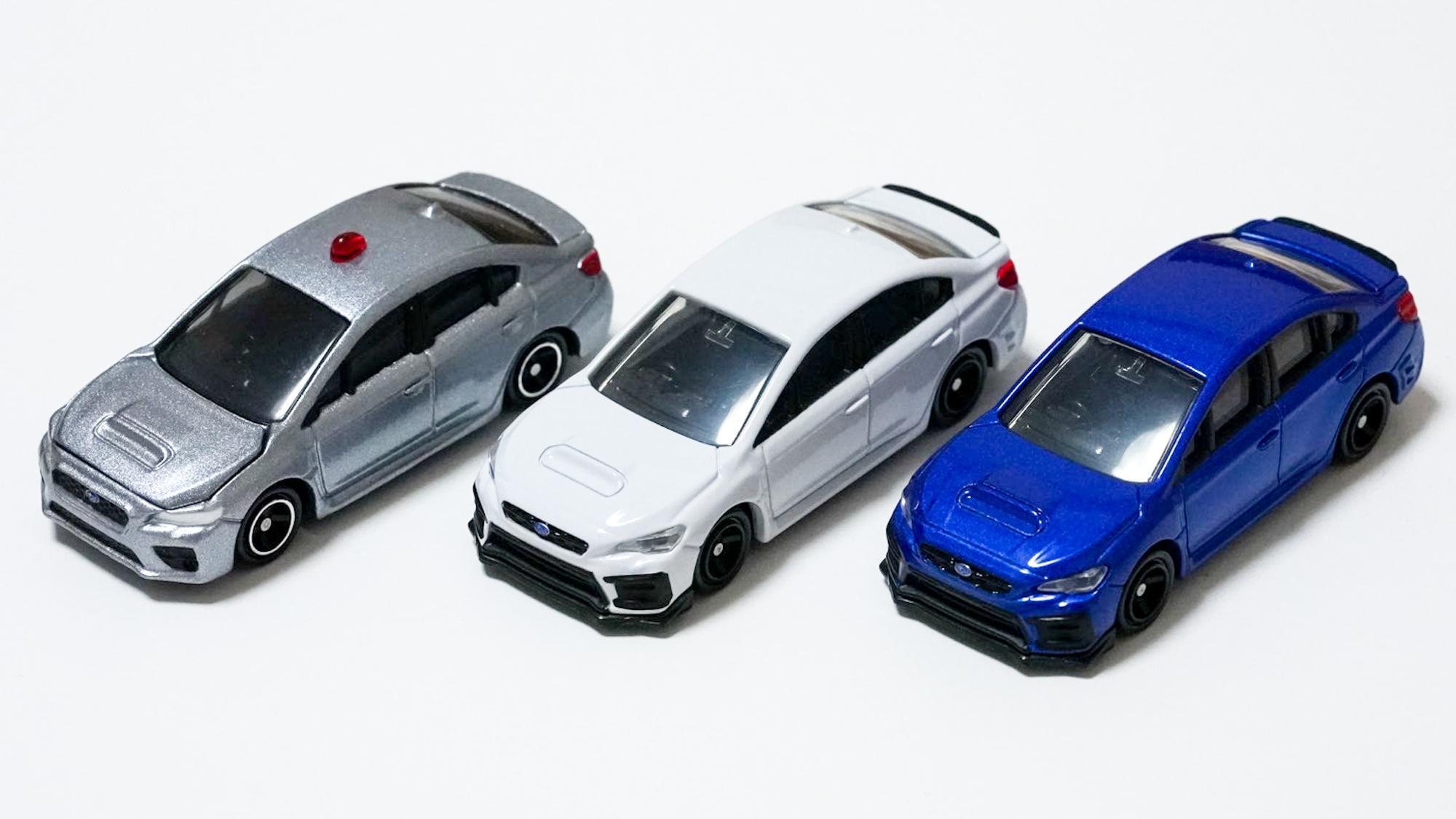 WRX S4ばっかり。パトカー買った時はまだ右の2台がリリースされてなかったのや!