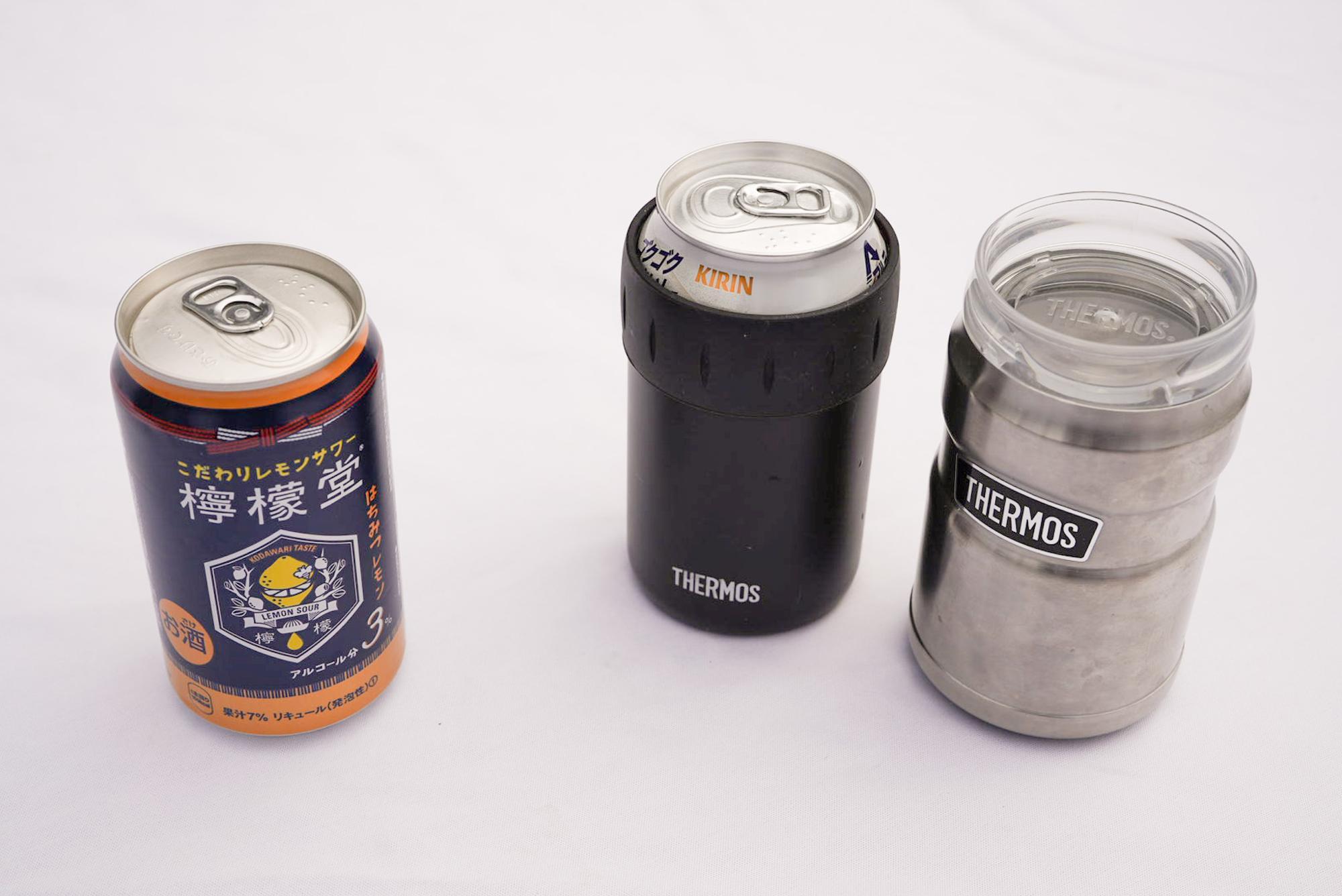 350ml缶用ながら500ml缶も使える缶ホルダー(どうせひとくち、ふたくち飲むのですから問題なし)。缶ホルダーに限って小は大をかねます