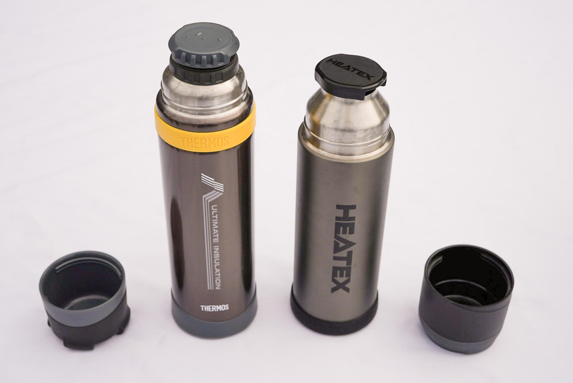 サーモスの山専用ボトルと、ニトリの類似品「HEATEX」(店頭では一度も見かけたことがありません)