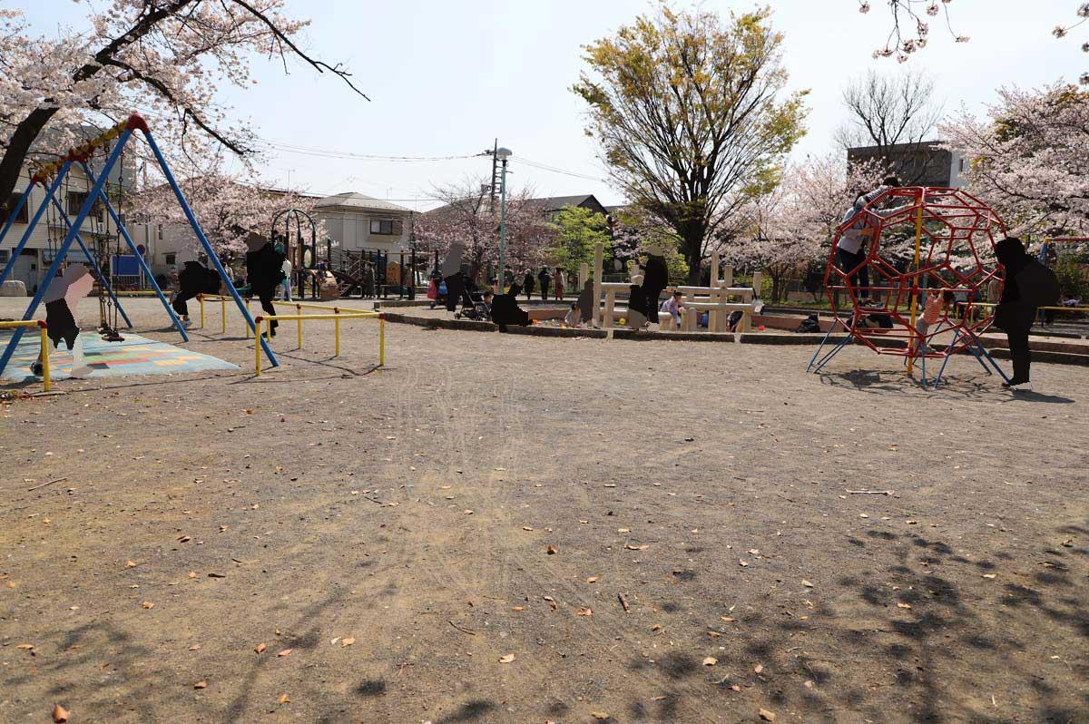 遊具広場でも桜を楽しむことができます