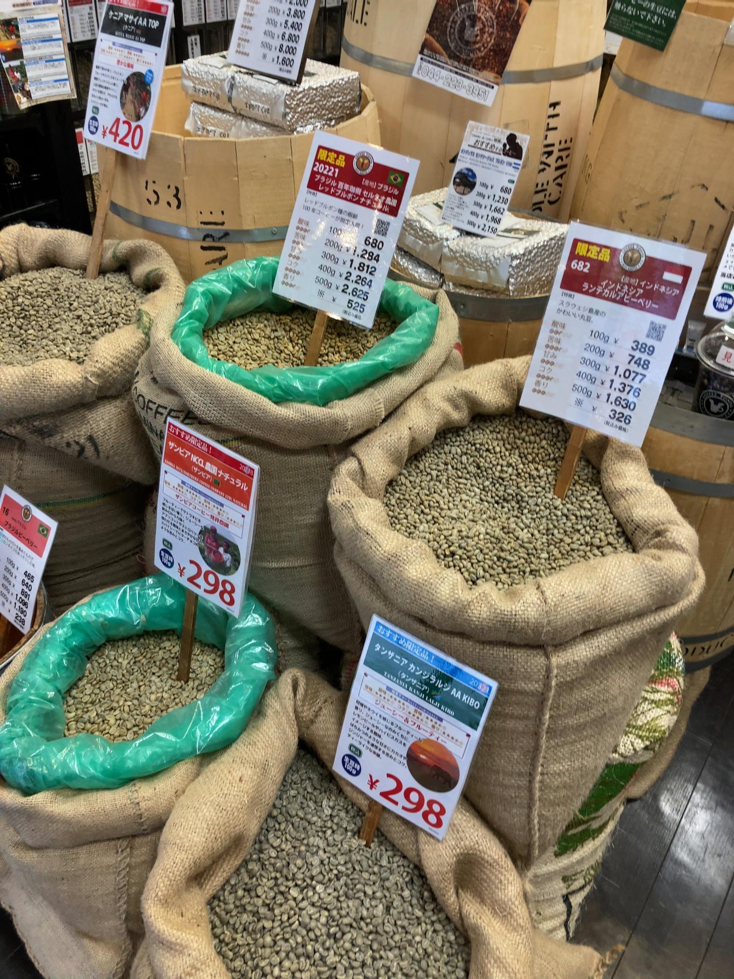 様々な原産国の豆があって選べない時は、まずは値段で決めると良いでしょう。