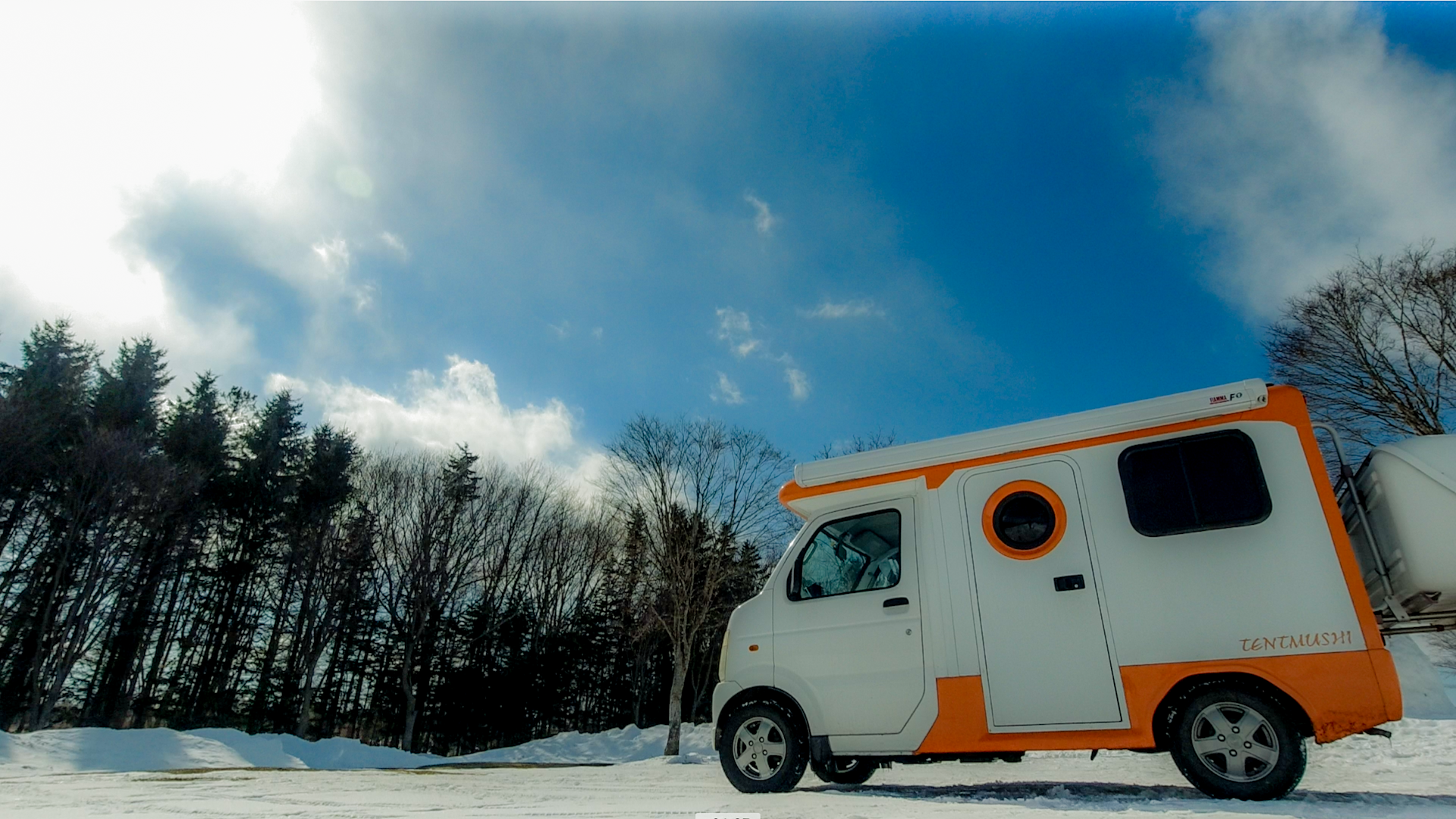 △軽キャンピングカーで雪中キャンプ