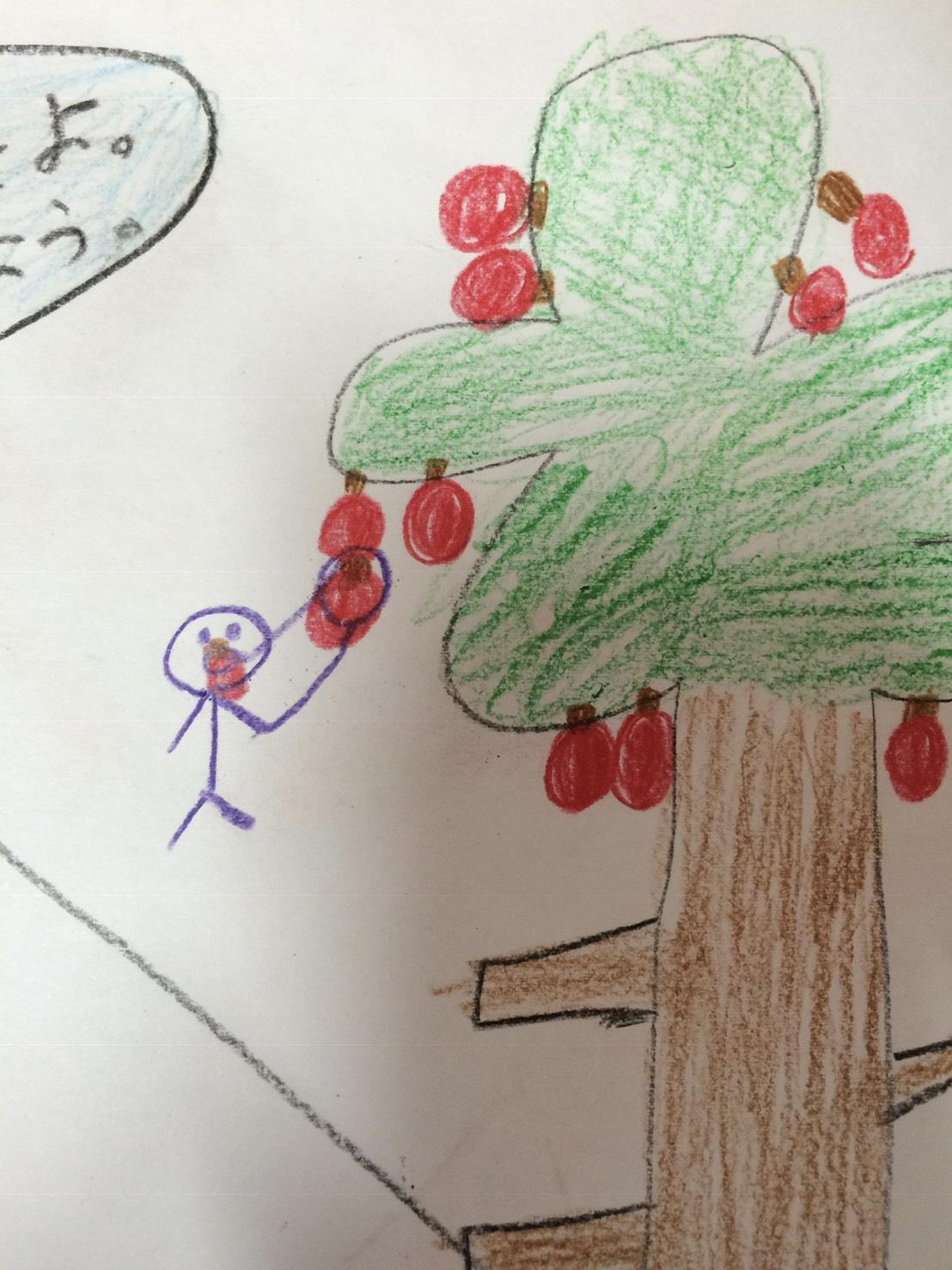 学童支援員時代の僕が書かれた絵です。木になった果物を食べようとする姿が抽象的なタッチで描かれています。