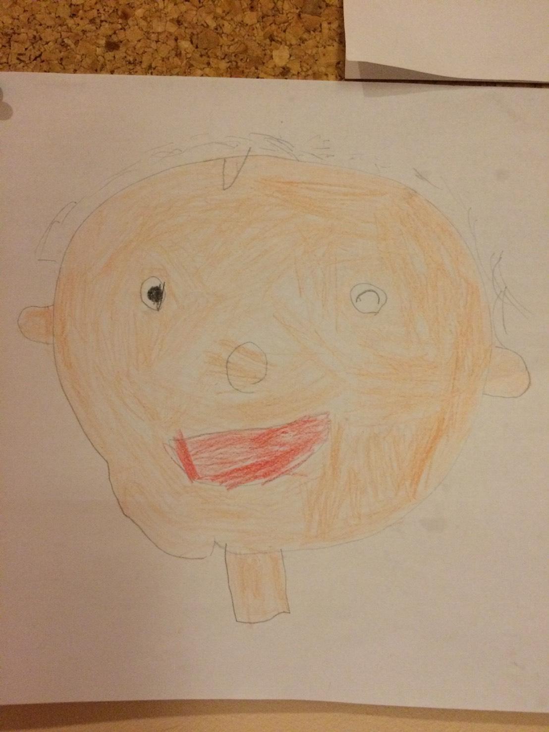 コマ撮りしているときの僕はこんな顔をしていると思います。※イラストではデフォルメされていますが、髪の毛はいっぱいあります。