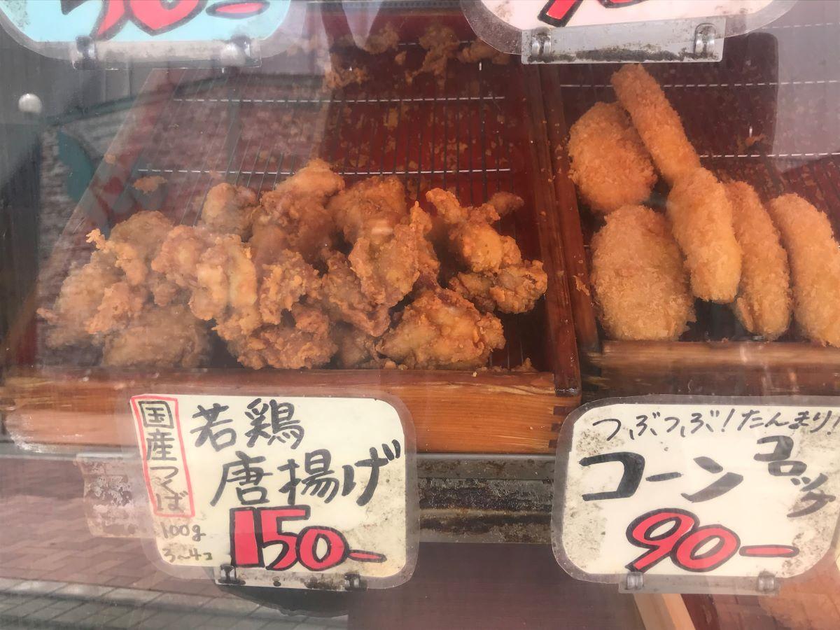 左:つくば鶏の唐揚げ(100g150円)