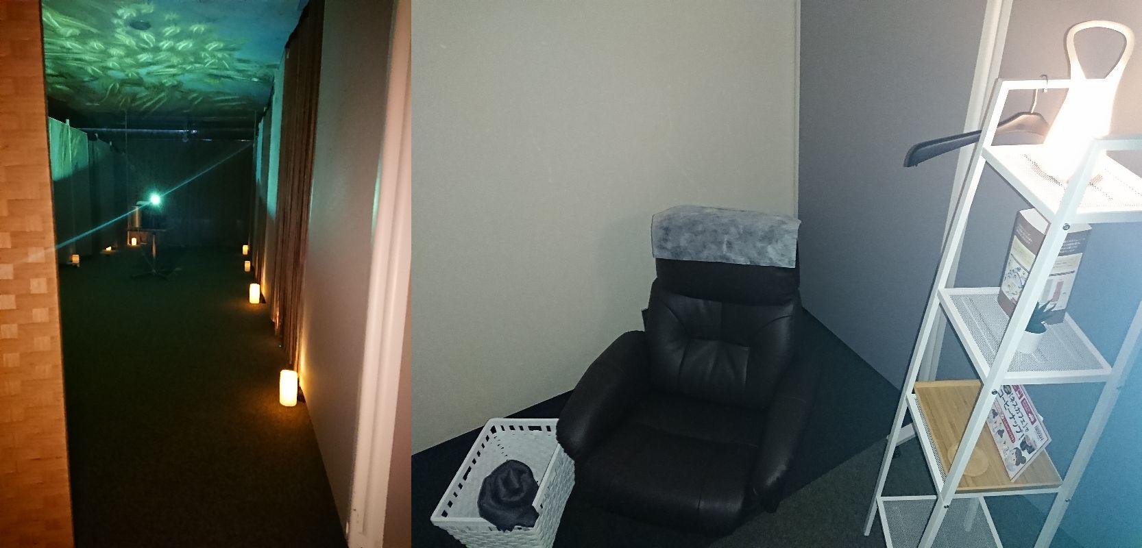 左:足元に明かり、天井にも画像が投映されえています。右:リクライニングチェア