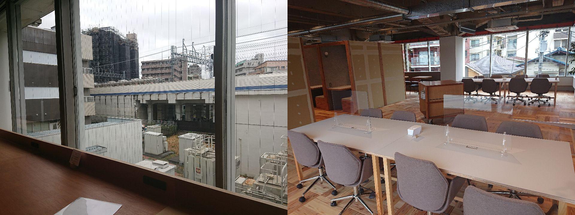 左:東急線が2階から見えます。右:テーブル席