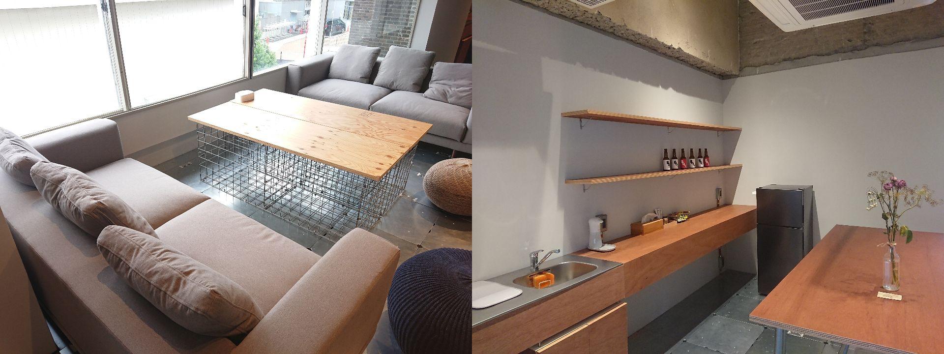 左:ソファー席 右:台所と冷蔵庫スペース