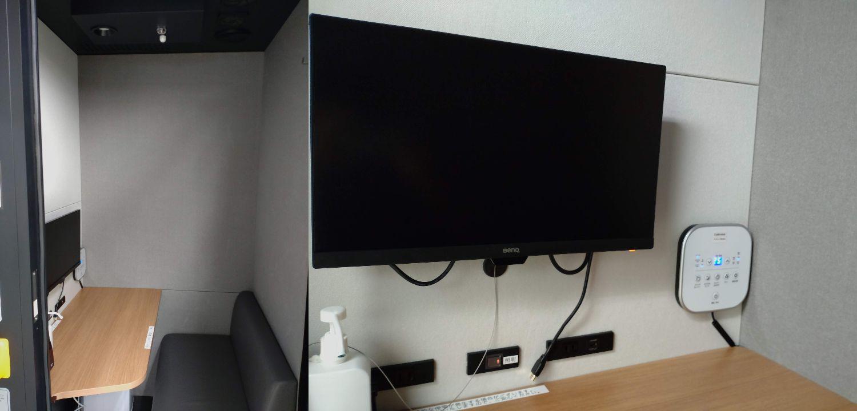 左:ヒト一人分ぐらいのスペース、右:ディスプレイ横に空調パネル
