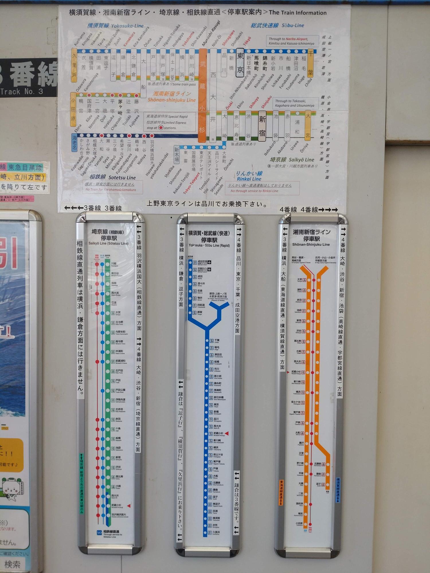 横須賀線、湘南新宿ライン、埼京線、相鉄線直通と乗り入れが多い駅でもあります