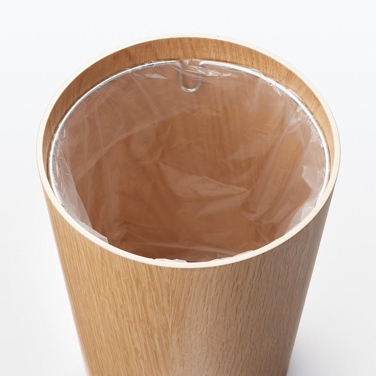 木製ごみ箱・袋止めワイヤー付 オーク材突板・丸型