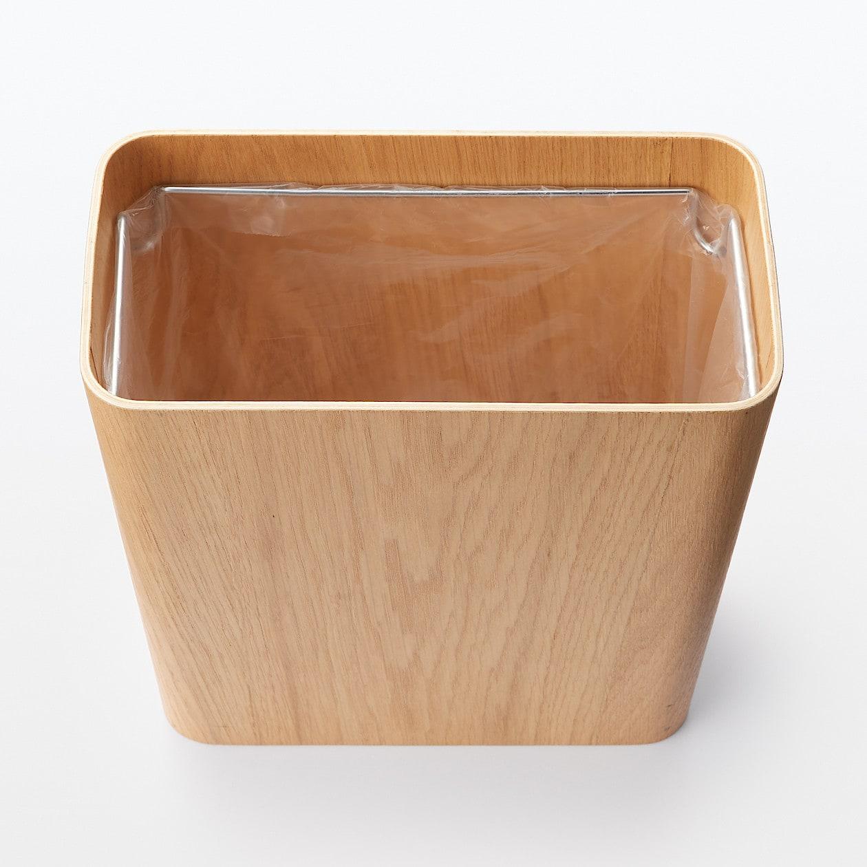 木製ごみ箱・袋止めワイヤー付 オーク材突板・角型