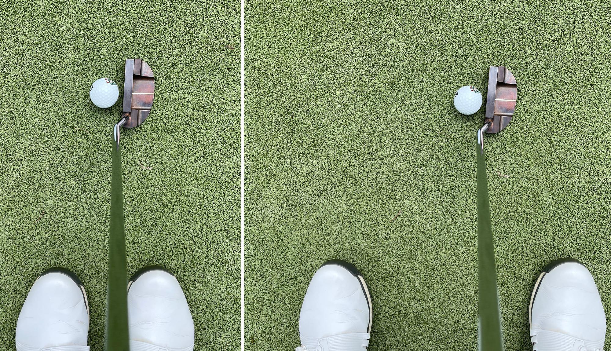 めちゃ狭いスタンスで真ん中にボールを置いてみたり、広めのスタンスでもいろんなボール位置を試したりしました。