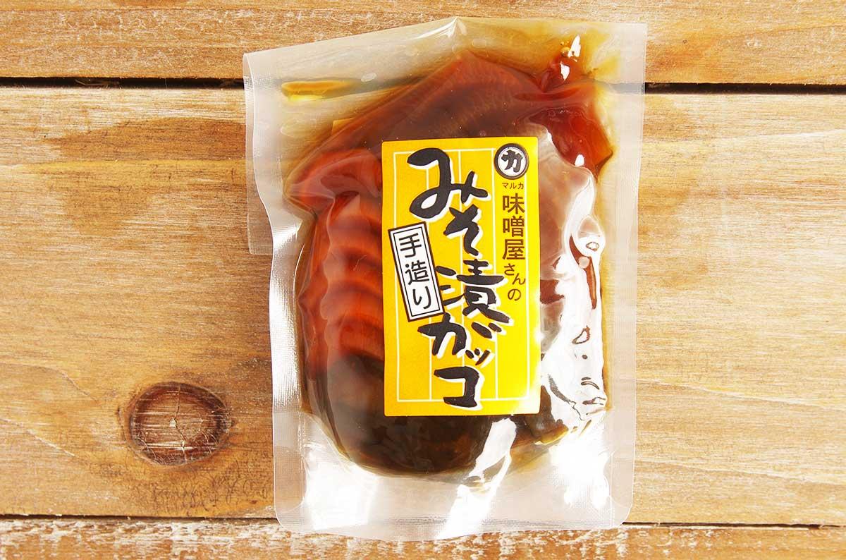 こちらが味噌漬けガッコのパッケージ。247円(税込)/100g。お手頃な価格。