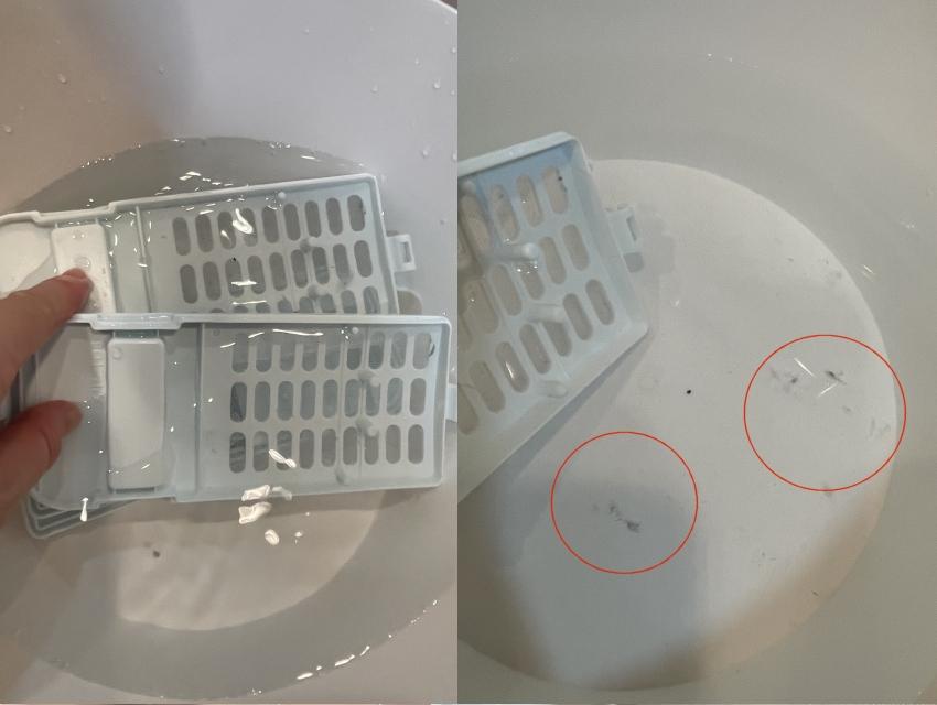 こびり付いた汚れは無理にこすりとらず、浮かせて振り洗いです。