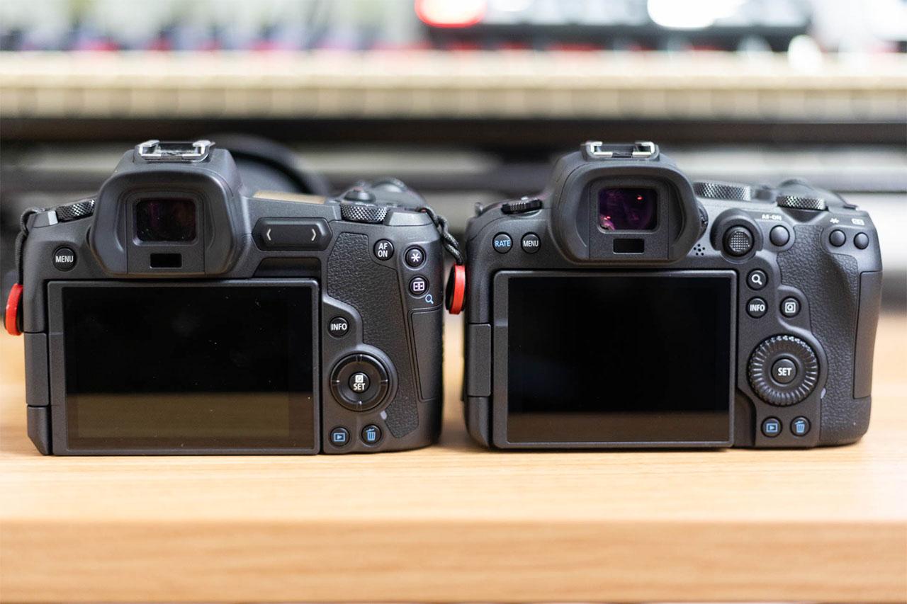 背面の比較。左がEOS Rで、右がEOS R6。