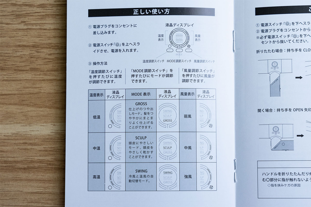 マニュアルの中から「正しい使い方」のページを抜粋