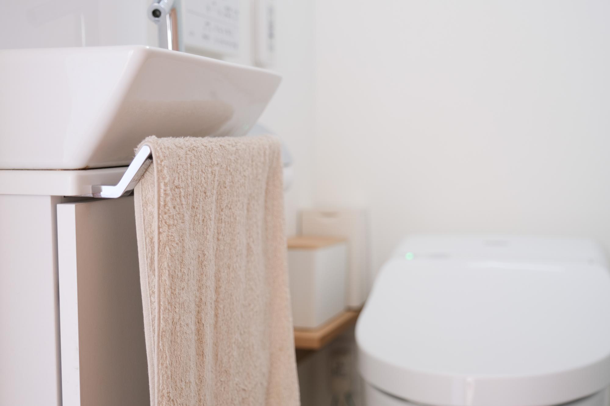 1階のトイレはシンプルな無地のものを