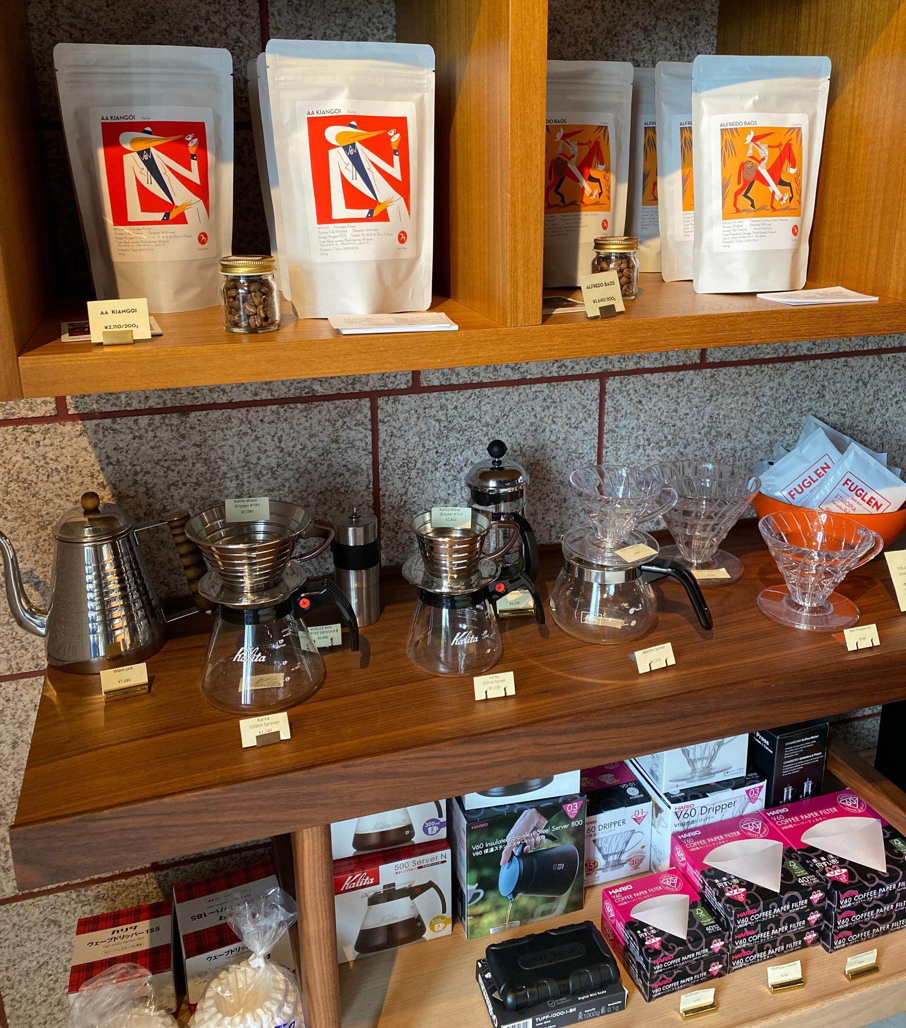 豆やコーヒーの器具が購入できます