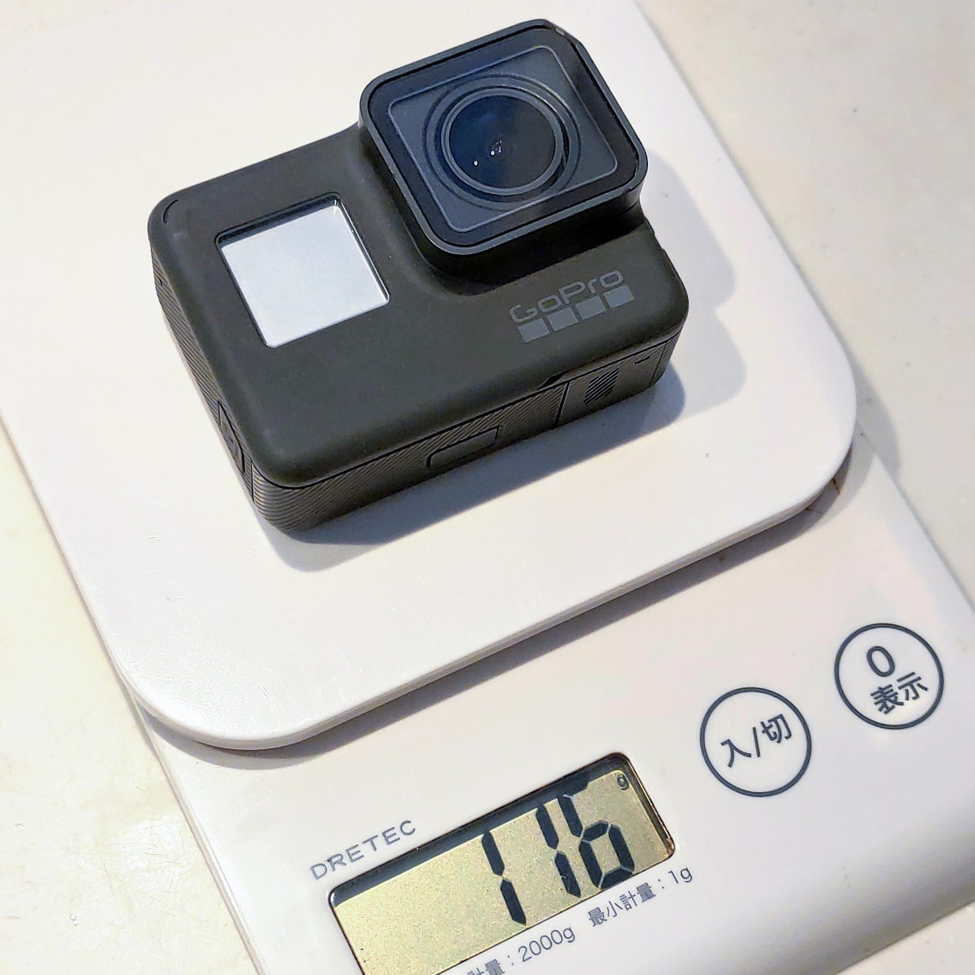 GoPro Hero6は116gでした。