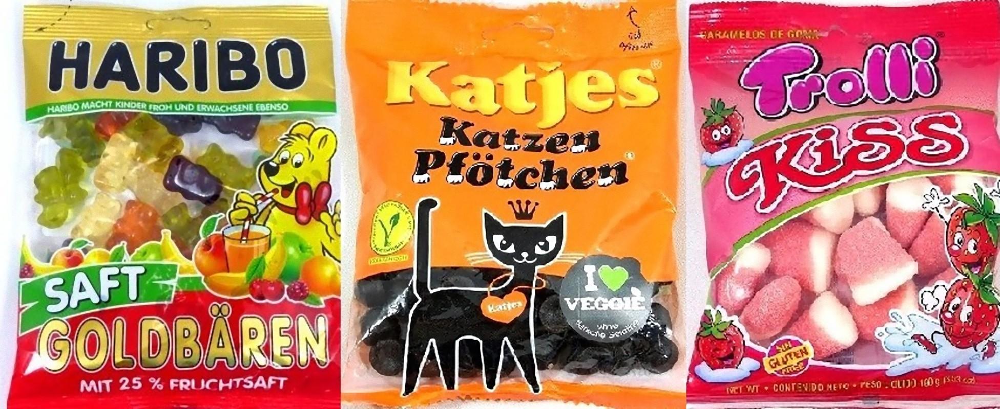 左から、ハリボー ゴールドベアー(HARIBO Gold Bear )、カッチェス カッチェン (Katjes Katzen)、トローリ キッス(Trolli Kiss Strawberry )