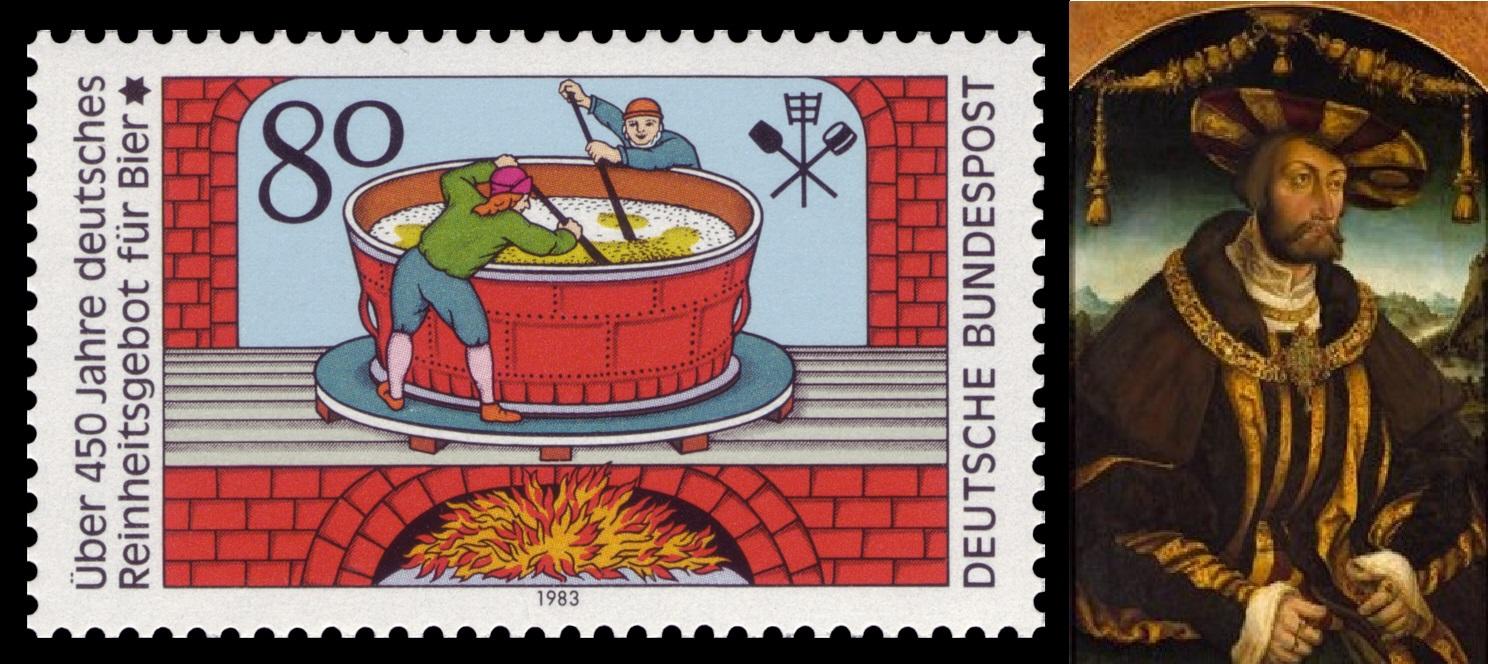 写真左:ビール純粋令の歴史を祝い、誕生450周年を記念したドイツポストの記念切手。写真右:Wilhelm IV. der Standhafte. 画:ハンズ・ワーティンガー。出典:Wiki