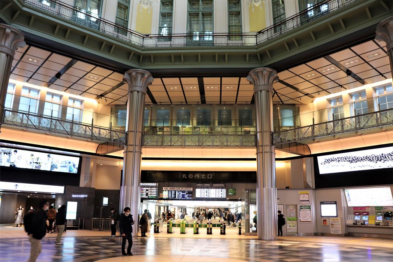 ドームの中にある丸の内北口改札。民営化後、この場所で「エキコン」(駅コンサート)が何度も開かれた。