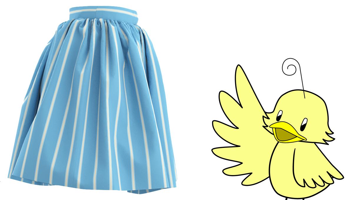 コスプレ衣装の作り方 ギャザースカートの柄の出方