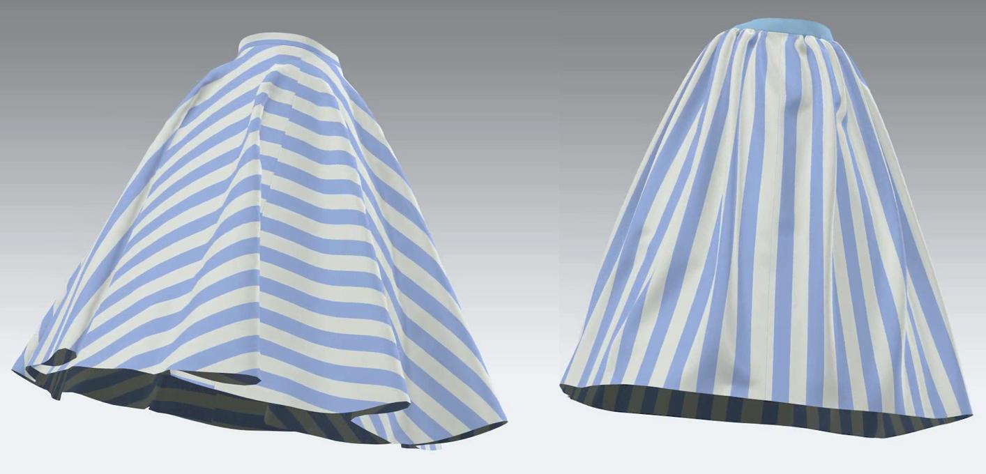 全円とギャザースカートの柄の比較