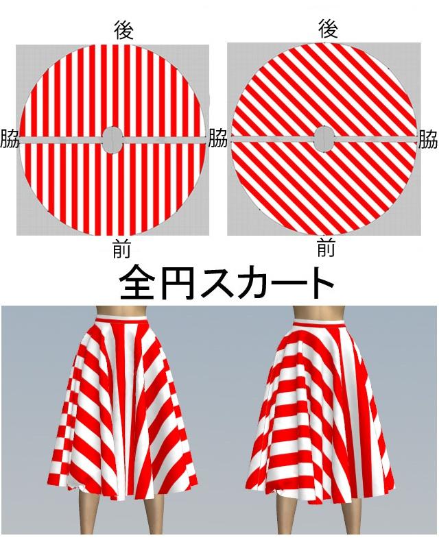 全円スカートの柄の現れ方