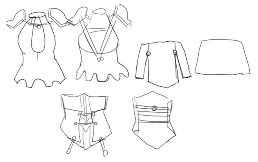 コスプレ衣装を分解して描く