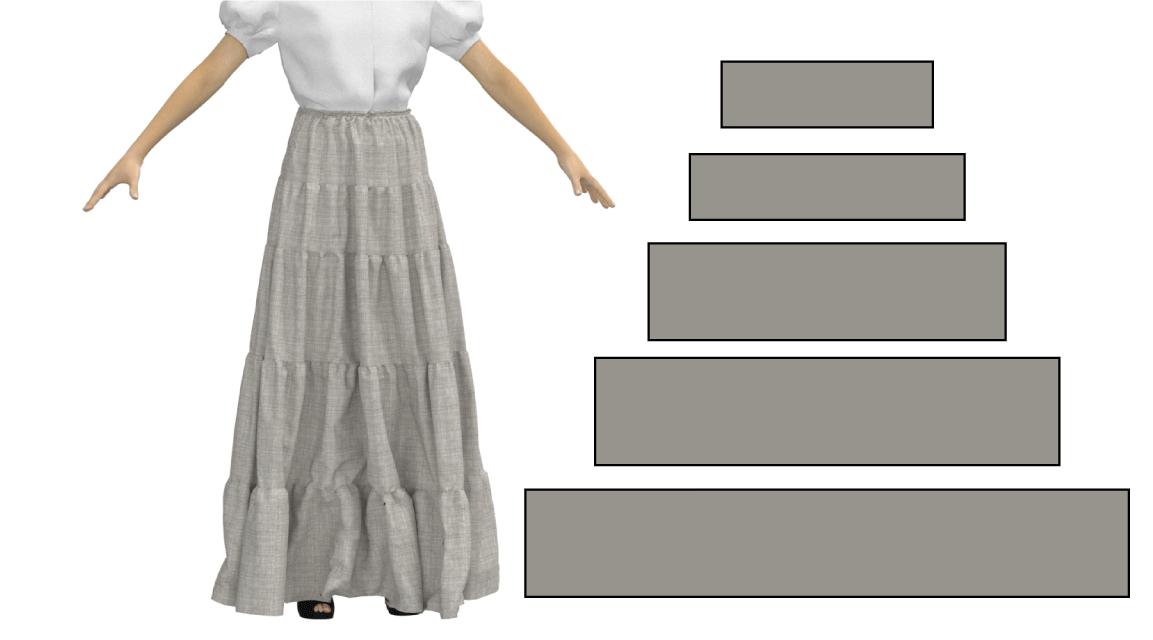 5段ティアードスカート