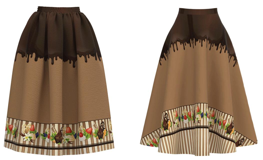 ギャザースカートと半円スカート
