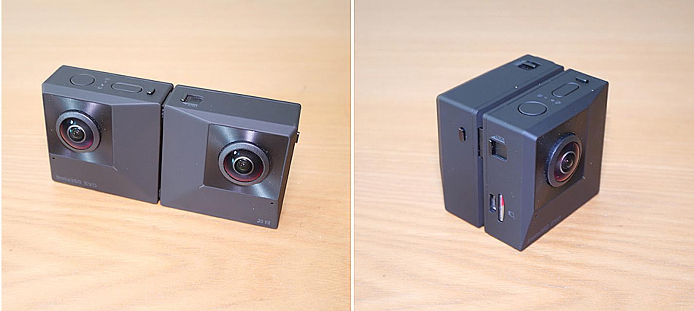 変形して180度立体VRも360度VRも撮影できる